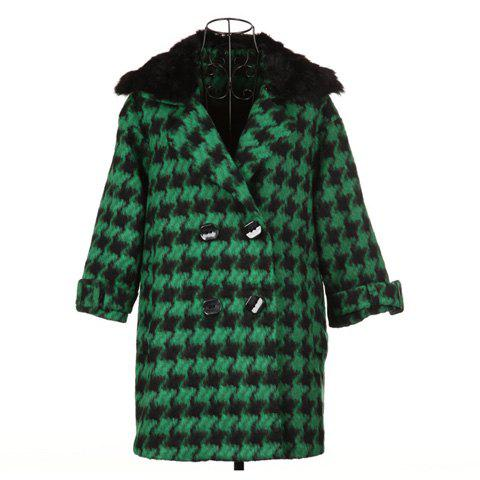 Elegant Style Lapel With Checked Long Sleeve Wool Worsted Women's Coat - GREEN ONE SIZE