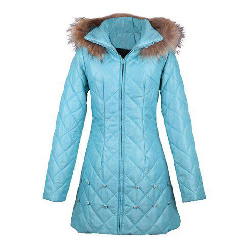 Stereo Little Rose Decorated Rhombus Zipper Hooded Women's Cotton Padded Coat - BLUE ONE SIZE
