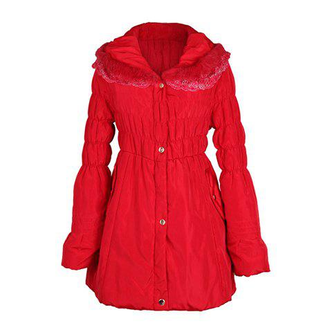 Lace Splicing Turndown Collar Ruffle Slim Fit Women's Wadded Coat - RED ONE SIZE