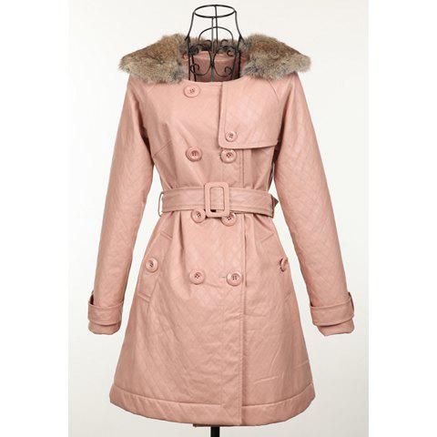 Elegant Style Scoop Neck With Fur Long Sleeve Faux Leather Women's Coat - PINK ONE SIZE