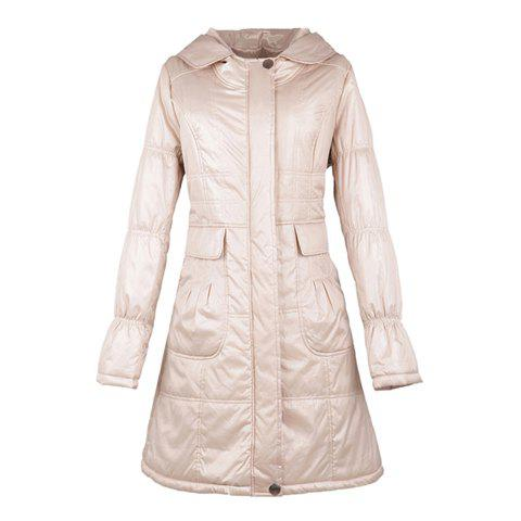 Solid Color Long Sleeve Apricot Hooded Women's Cotton Padded Coat