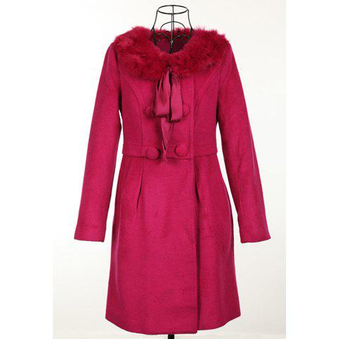 Elegant Style Scoop Neck Dismountable Fur Collar Long Sleeve Worsted Women's Coat - ROSE ONE SIZE