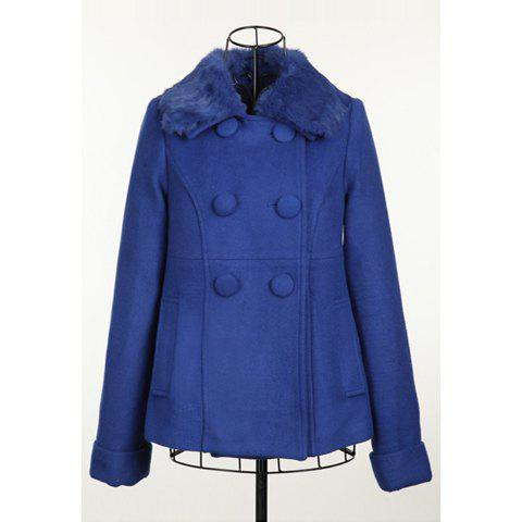 Elegant Style Scoop Neck With Fur Double Breasted Long Sleeve Worsted Women's Short Coat - SAPPHIRE BLUE ONE SIZE