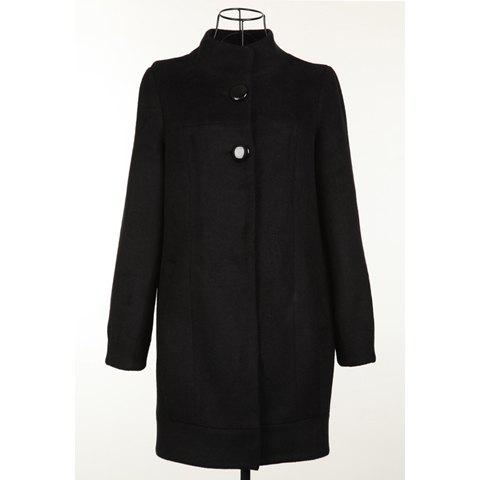 Elegant Style Stand Collar Black Color Long Sleeve Worsted Women's Coat