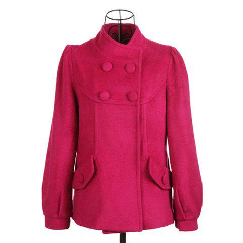 Sweet Style Stand Collar Pleated Design Cute Pocket Long Sleeve Worsted Women's Coat - ROSE ONE SIZE