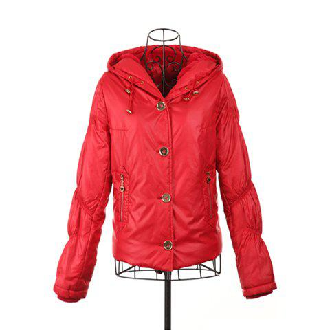 Casual Style V-Neck Hooded Long Sleeve Short Plush Inside Women's Short Coat - RED ONE SIZE