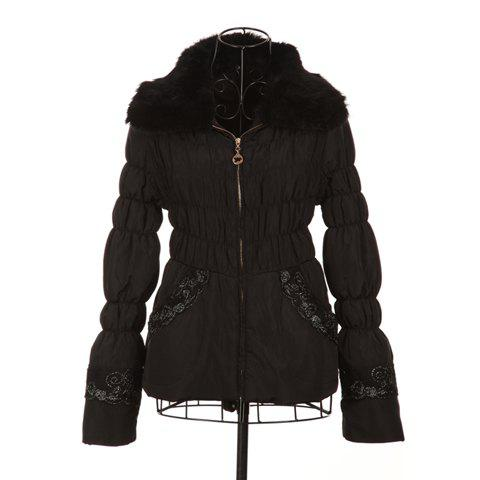Sweet Style Scoop Neck With Fur Lace Embellished Long Sleeve Cotton Padded Women's Short Coat