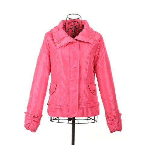 Sweet Style Scoop Neck Hooded Flouncing Design Long Sleeve Cotton Padded Women's Short Coat - PINK ONE SIZE