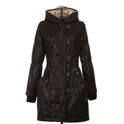 Modern Style Scoop Neck Double Hooded Long Sleeve Cotton Padded Womens CoatWomen<br><br><br>Size: ONE SIZE<br>Color: BLACK