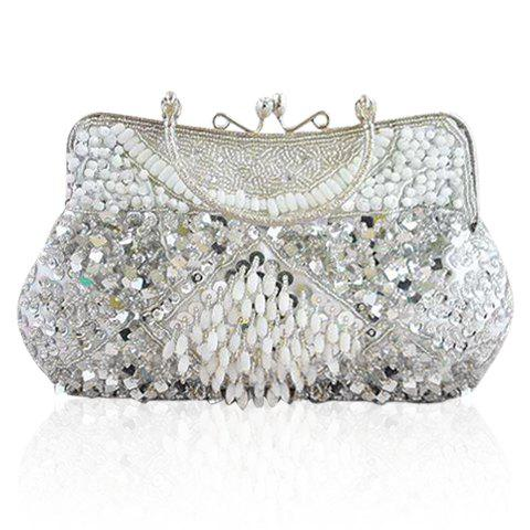 Stylish Party Solid Color Sequins Rhinestone and Bead Design Women's Evening Bag