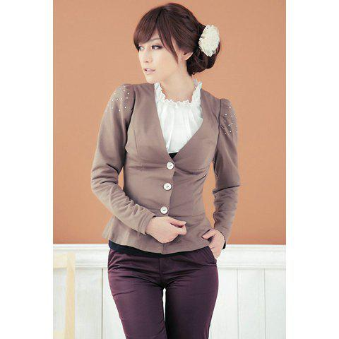 Slim Fit V-Neck Rhinestone Decorated Puff Sleeve Women's Blazers - COFFEE 2XL