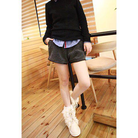 Modern Style Faux Leather Splice Elastic Waist Artificial Lambswool Women's Shorts - DEEP GRAY ONE SIZE