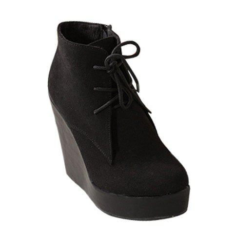 Casual Laconic Trendy Solid Color Lace-Up and Wedge Heel Design Women's Short Boots - BLACK 36