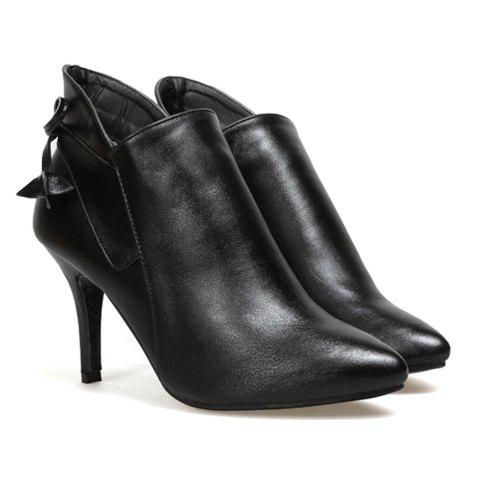 Sexy Trendy Casual Solid Color Bowknot and High Heel Design Women's Ankle Boots - BLACK 35