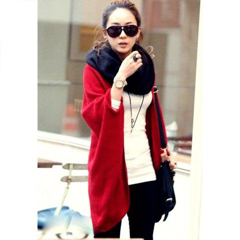 Modern Style Collarless Cardigan Design Solid Color Batwing Red Knitting Women's Sweater - RED ONE SIZE