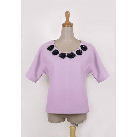 Elegant Scoop Neck Short Sleeve Woolen Fabric Women's Blouse - PURPLE M