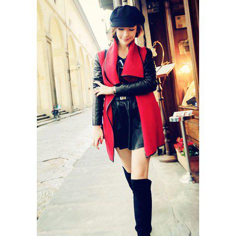 Modern Style Lapel Faux Leather Splicing Long Sleeve Worsted Women's Coat - RED M