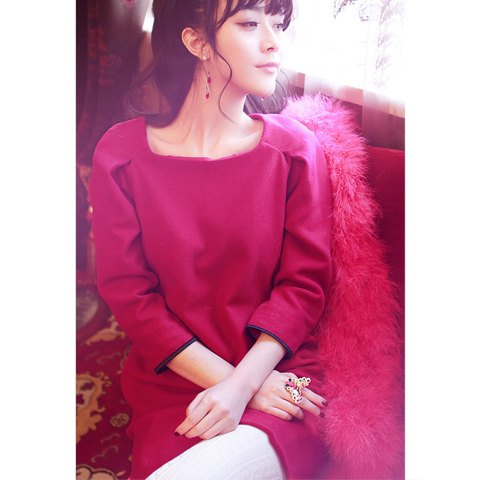 Ladylike Scoop Neck 3/4 Sleeves Solid Color Puff Cuff Woolen Blend Women's Dress - ROSE L