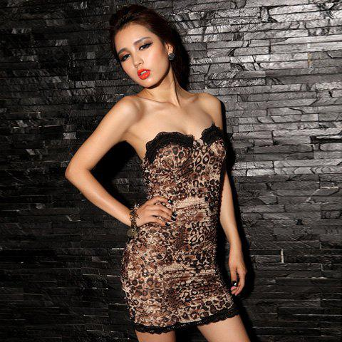 Gorgeous Lace Hem Sweetheart Neckline Strapless Leopard Women's Club Dress - LEOPARD ONE SIZE