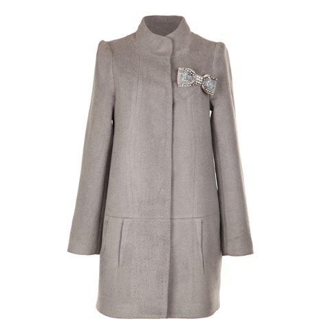 Sophisticated Stand Neck Long Sleeves Solid Color Long Style Simple Design Woolen Blend Women's Coat - KHAKI ONE SIZE