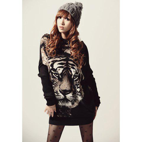 Stylish Round Neck Tiger Head Print Batwing Sleeve Loose Fit Black Color Long Women's T-Shirt - BLACK ONE SIZE