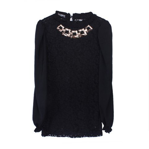 Palace Style Stand Neck Long Sleeves Chiffon Splicing Metallic Necklace Lace Women's T-Shirt - BLACK ONE SIZE