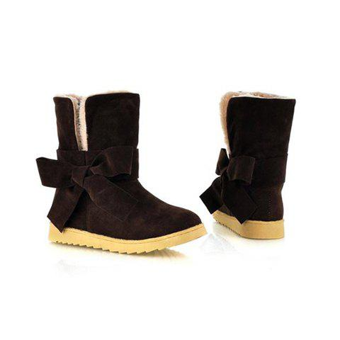 Casual Laconic Pure Color Bowknot and Turndown Collar Design Women's Snow Boots - BROWN 39