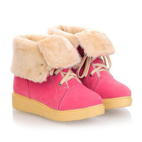 Casual Laconic Solid Color Lace-Up and Platform Heel Design Women's Snow Boots - ROSE 34
