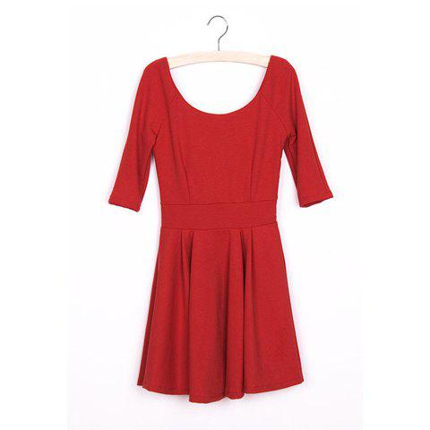 Graceful OL Style Round Neckline Elastic Waist Pleated Dress For Women - RED S