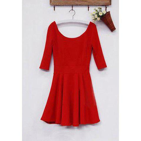 Slimming Simply Design Plunging Neck Solid Color Ruffles Backless Short Sleeves Cotton Blended Dress For Women - RED L