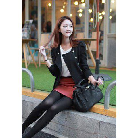 Modern Style Scoop Neck Flouncing Hem Double Breasted Puff Sleeve Cotton Blend Women's Coat - BLACK M