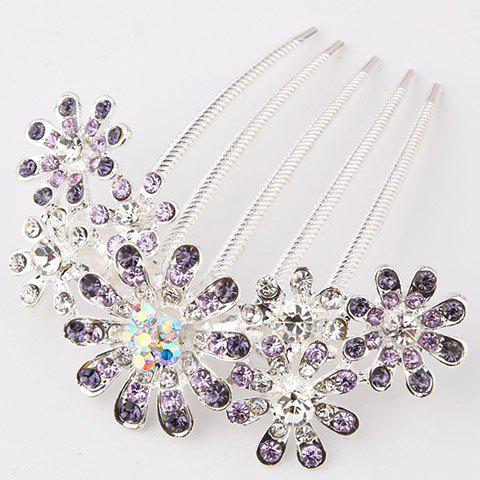 Hot Sale Stunning Style Flowers Shape Rhinestone Embellished Women's Hair Comb