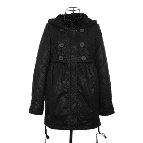 Street Style Hooded Double Collar Loose Fit Long Sleeves Double Breasted PU Leather Women's Coat - BLACK ONE SIZE