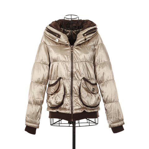 Fashional Turndown Collar Long Sleeved Women's Wadded Jacket With Pockets