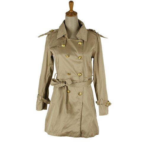 Glamour Lapel Neck Double Breasted Epaulet Embllished Long Sleeve Detachable Women's Trench Coat With Belt - AS THE PICTURE L