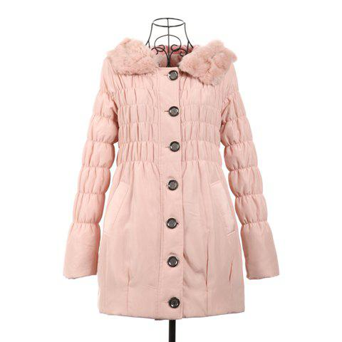 Fashional Ruffle Drawstring Long Sleeves Hooded Women's Coat - PINK ONE SIZE