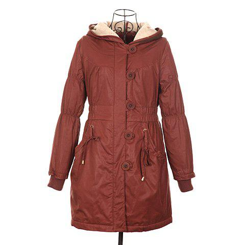 Stylish Drawstring Long Sleeve Hooded Women's Coat - BROWN ONE SIZE