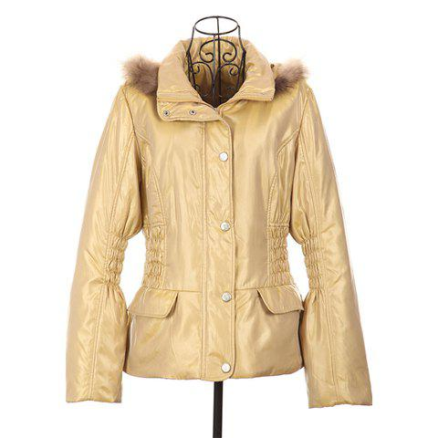 Slim Fit Ruffle Long Sleeved Hooded Women's Quilted Coat - YELLOW ONE SIZE