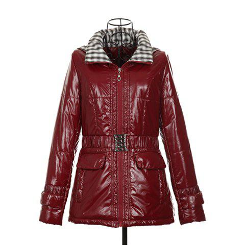 Casual Hooded Double Collar Tartan Print Inside Long Sleeves Warm PU Leather Women's Jacket - CLARET ONE SIZE