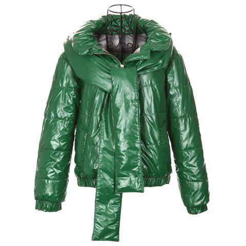 Modern Style Scoop Neck Hooded False Scarf Design Long Sleeve Cotton Padded Women's Coat - GREEN ONE SIZE