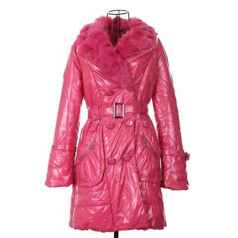 Modern Style Fur Lapel Red Color Long Sleeve Cotton Padded Women's Coat - RED ONE SIZE