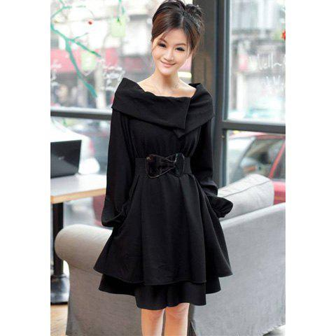 Elegant Boat Neck Special Design Long Sleeves Dacron Slimming Fitted Women's Dress - BLACK L