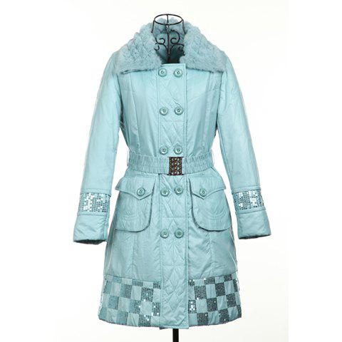 Refreshing Polo Neck Long Sleeves Double Breasted Sequin Embellished Cotton Blend Women's Padded Coat - LIGHT BLUE ONE SIZE