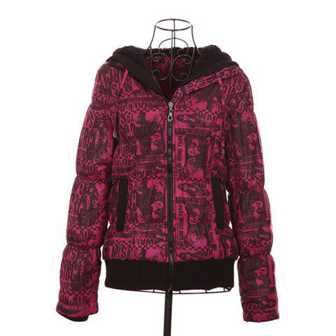 Stylish Hooded Long Sleeves Image Print Color Match Cotton Blend Women's Padded Jacket - ROSE ONE SIZE