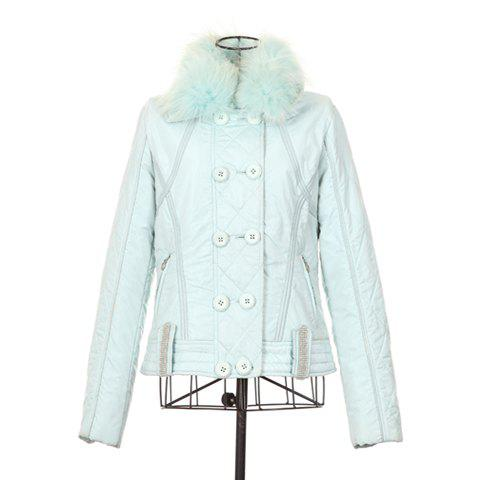 Refreshing Stand Neck Faux Fur Collar Long Sleeves Solid Color Cotton Blend Women's Padded Jacket - LIGHT BLUE ONE SIZE