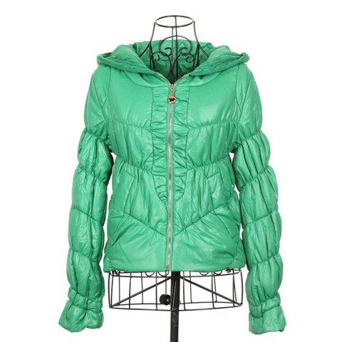 Modern Style Hooded Long Sleeves Special Grain Solid Color Cotton Blend Women's Padded Jacket - GREEN ONE SIZE
