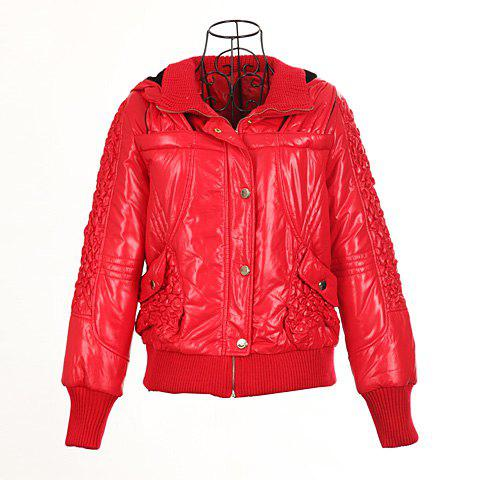 Modern Style Hooded Woolen Yarn Splicing Double Collar Long Sleeves PU Leather Women's Padded Jacket - RED ONE SIZE