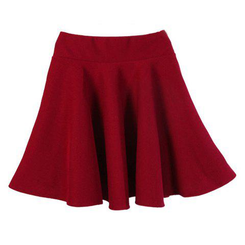 Vintage High Waist Solid Color Slimming Women's Full Skirt - WINE RED ONE SIZE