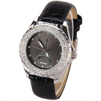 Astina Quartz Watch with Diamonds Dots Indicate Round Dial Leather Watch Band for Women (Black)