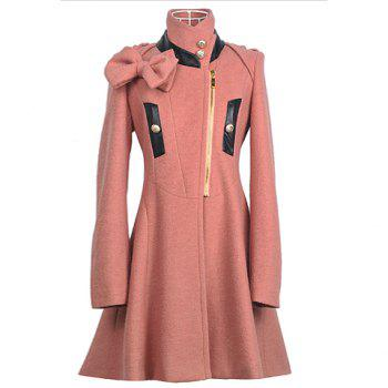 Stand Collar Slim Fit Bow Decorated Long Sleeves Woolen Fabric Women's Coat